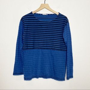 [Jane & Delancey] Blue Striped Colorblock Top